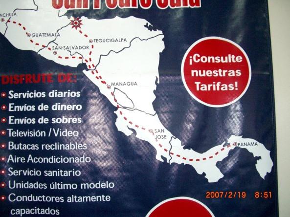 2007年2月19日(月)。ついに「パナマ行き」当日!「TICA BUSツアー」スタート!無事、Nicaragu (1)