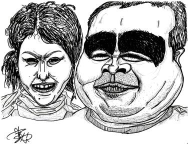 【2人組】<Yojiのグロテスクな似顔絵>2012年年
